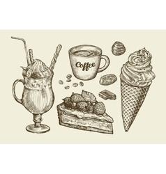 Food dessert drink Hand drawn ice cream sundae vector image
