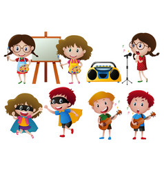 kids doing different activities vector image