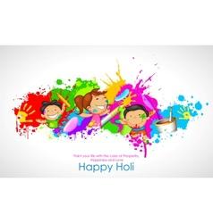 Kids playing Holi vector image