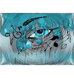 musical background with the human eye vector image vector image