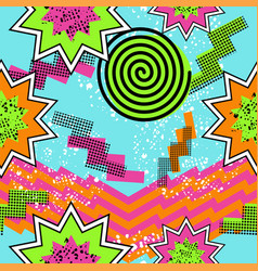 Retro 80s comic pattern background vector image vector image