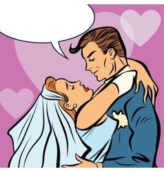 Wedding bride and groom love heart hug vector image vector image