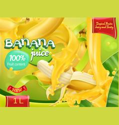 banana juice sweet tropical fruits 3d realistic vector image vector image