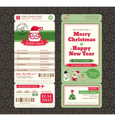 Christmas Card Design Boarding Pass Ticket vector image vector image
