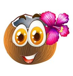 Coconut with happy face vector image