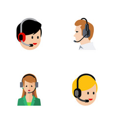 Flat hotline set of secretary telemarketing call vector