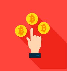 hand bitcoin flat icon vector image