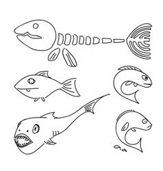 Humorous drawing fish set vector image