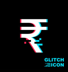 indian rupee sign in glitch style vector image