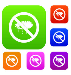 no flea sign set collection vector image