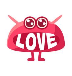 Pink blob saying love cute emoji character with vector
