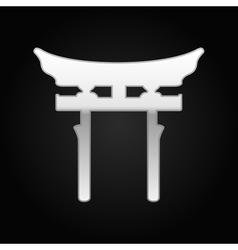 Silver japan gate torii icon on black background vector