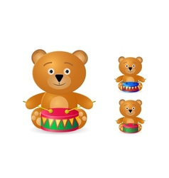 teddy bear with drum icon set vector image vector image