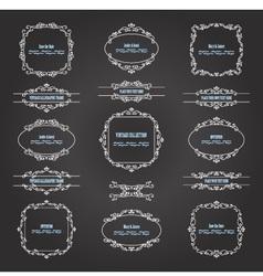 Vintage filigree frames and borders on chalkboard vector image