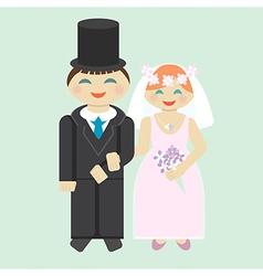Wedding icon bridegroom and bride vector image