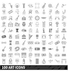 100 art icons set outline style vector image