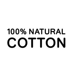 100 natural cotton silhouette text icon flat vector