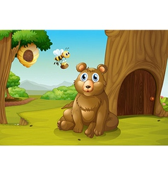 A bear and a bee near a treehouse vector