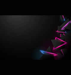 abstract black 3d pyramids and glowing stripes vector image