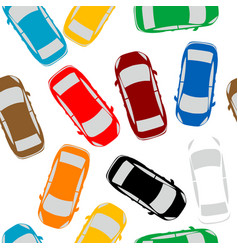 Aerial view parking with lots multicolored cars vector