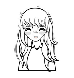 Anime happy cute woman vector