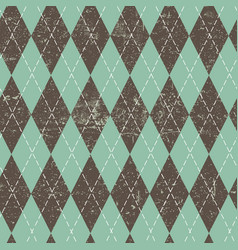 argyle seamless aged pattern blue and brown vector image