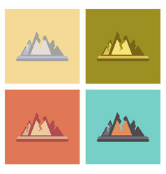Assembly flat icons nature cracks mountains vector