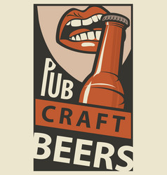 banner with the mouth opening a beer bottle vector image