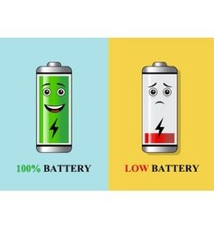 Batteries with different charge vector image