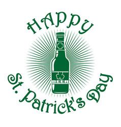 Beer bottle with clover leaf happy st patricks vector