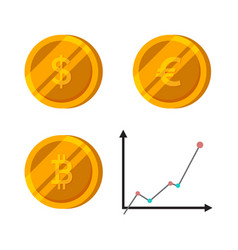 bitcoin dollar euro gold coins set finance vector image