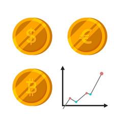 bitcoin dollar euro gold coins set finance vector image