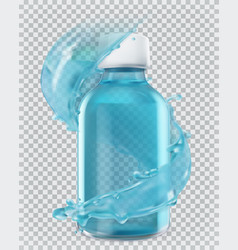 blue bottle and water splash 3d realism icon vector image
