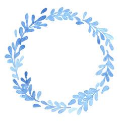 Blue fern leaves ivy wreath watercolor vector