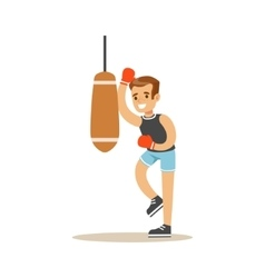 Boy Boxing With Punch Bag Kid Practicing vector