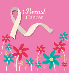 Breast cancer ribbon flower and pink background vector