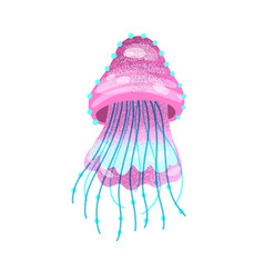 Bright pink jelly creature ocean or sea inhabitant vector