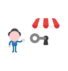 Businessman character showing unlock shop store vector