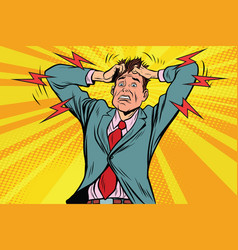 businessman panic head hand illness and medicine vector image