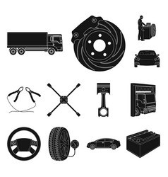 car lift pump and other equipment black icons in vector image