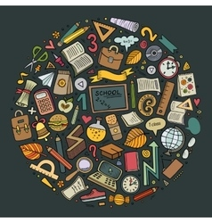Cartoon Back to school objects set vector image