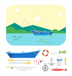 cartoon fishing boat on landscape and gear set vector image