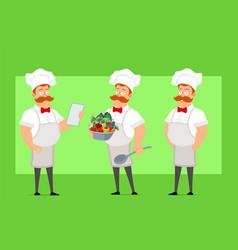cartoon flat fat chef cook man character vector image