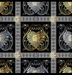 check greek key seamless pattern black vector image