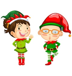 Christmas theme with two elves vector