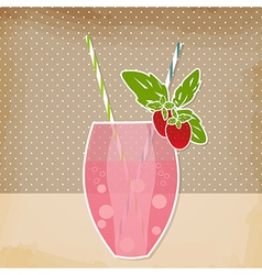 Cocktail strawberry background Glass of drink vector