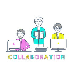 Collaboration males working with laptops vector
