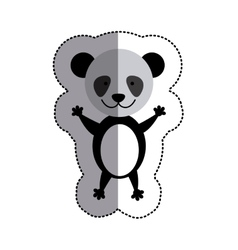color sticker with panda and middle shadow vector image