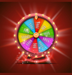 Colorful fortune wheel isolated on red background vector