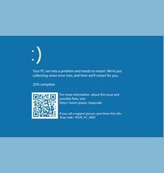 computer blue screen of death vector image